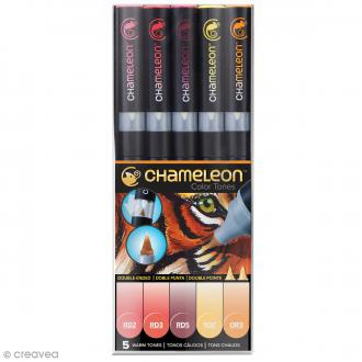 Coffret marqueurs Chameleon - Warm tones - 5 feutres