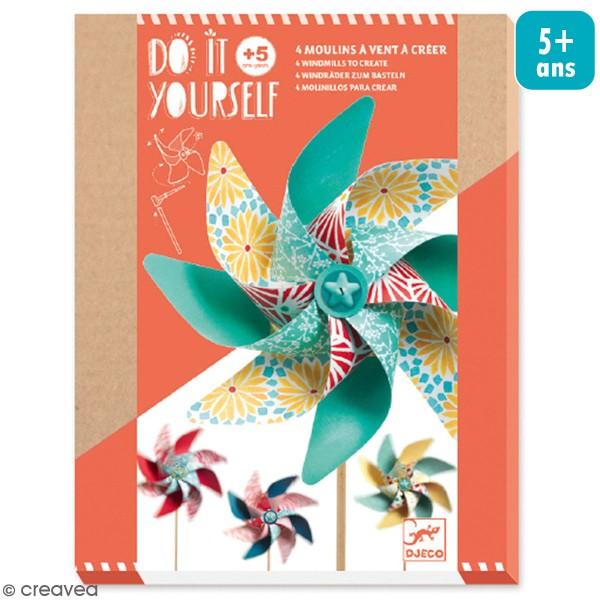 Kit Do It Yourself - 4 Moulins à vent colorés - Photo n°1