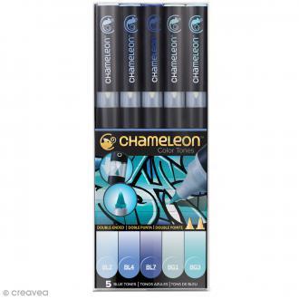 Coffret marqueurs Chameleon - Blue tones - 5 feutres