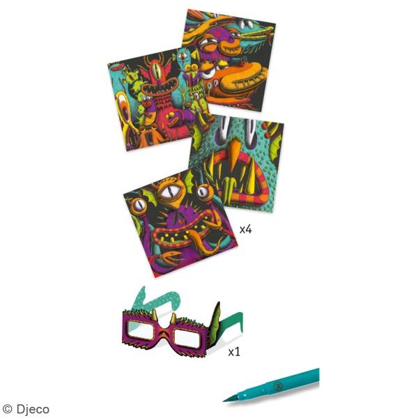 Coffret coloriage 3D - Monstres drôles - 12 pcs - Photo n°2