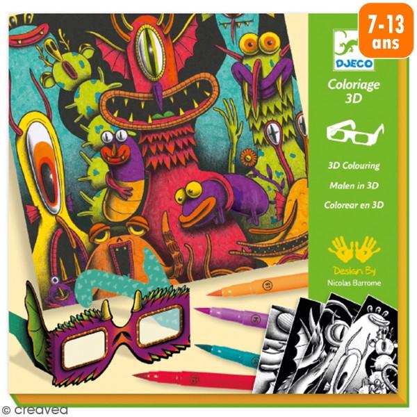 Coffret coloriage 3D - Monstres drôles - 12 pcs - Photo n°1