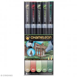 Coffret marqueurs Chameleon - Nature tones - 5 feutres