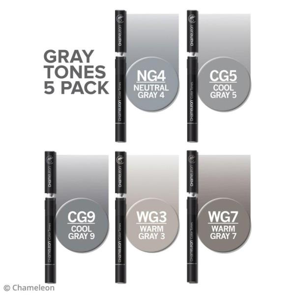 Coffret marqueurs Chameleon - Gray tones - 5 feutres - Photo n°2