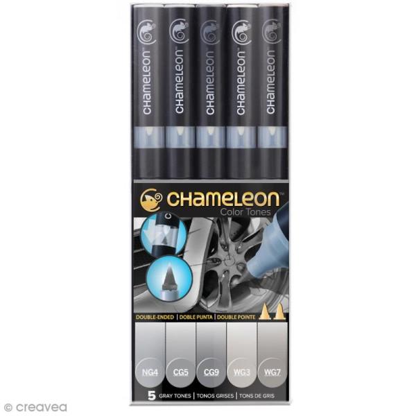 Coffret marqueurs Chameleon - Gray tones - 5 feutres - Photo n°1