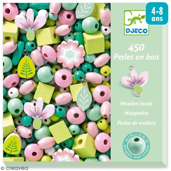 Kit de perles en bois - Feuilles et fleurs - 450 pcs - Photo n°1