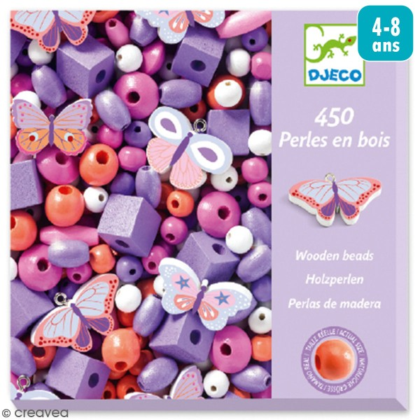 Kit de perles en bois - Papillons - 450 pcs - Photo n°1