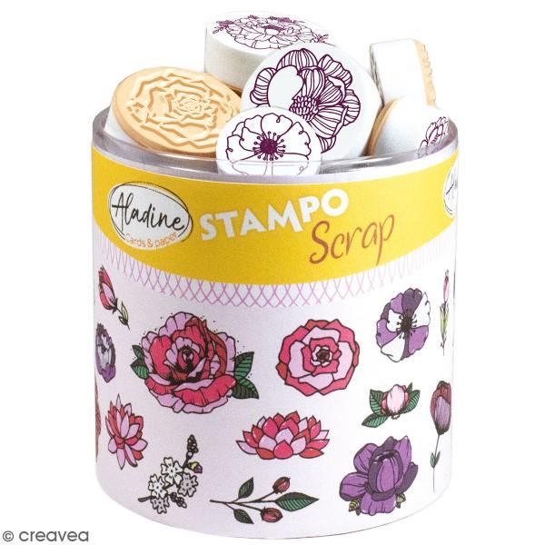 Kit de tampons Stampo Scrap - Fleurs - 31 pcs - Photo n°1