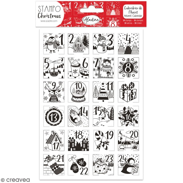 Kit de tampons Stampo Calendrier de l'avent - Personnages - 24 pcs - Photo n°1