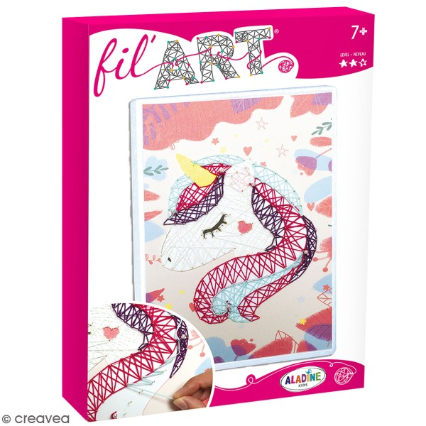Kit tableau string art - Fil art Licorne - 18,5 x 28 cm - Photo n°1
