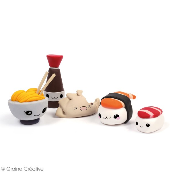 Mallette figurine Fimo - Kawaii family Saveurs d'Asie - 21 pcs - Photo n°2