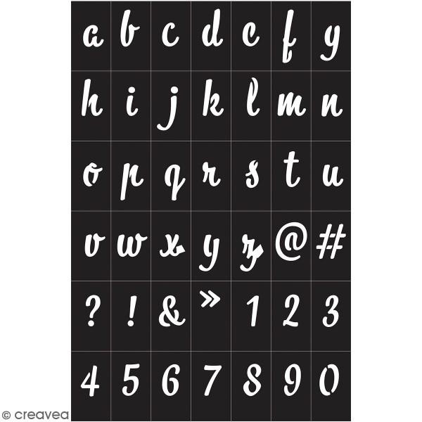 Pochoir adhésif - Alphabet - 42 symboles - Photo n°1