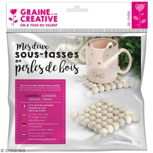 Kit sous-tasses en perles de bois - 73 pcs - Photo n°1