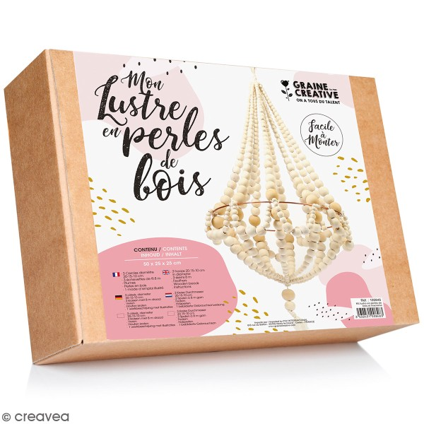 Kit Lustre naturel en perles de bois - 577 pcs - Photo n°1