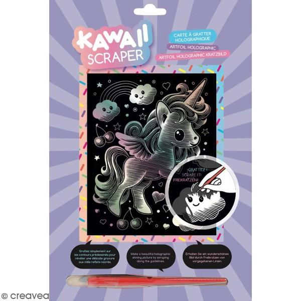 Carte à Gratter Scraper Kawaii Holographique Licorne Rêveuse 20 X 25 Cm