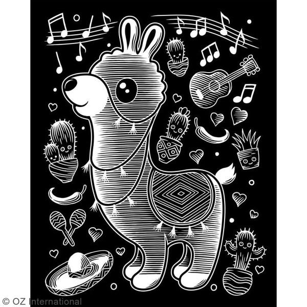 Carte à gratter Scraper Kawaii Holographique - Lama musicien - 20 x 25 cm - Photo n°2