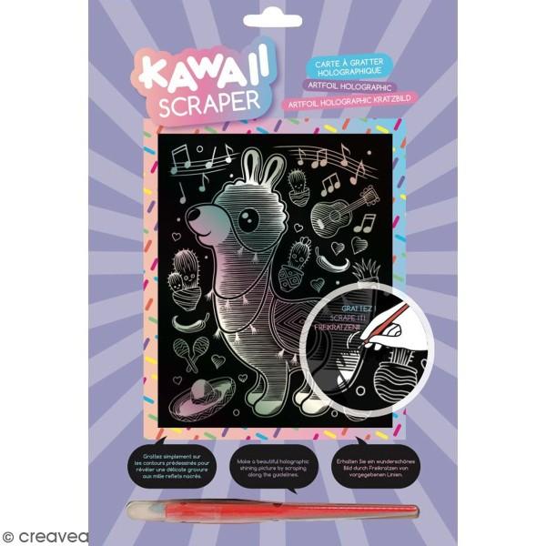 Carte à gratter Scraper Kawaii Holographique - Lama musicien - 20 x 25 cm - Photo n°1