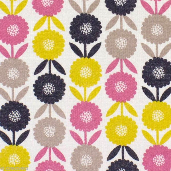 Tissu Bloom Flowers - Par 10 cm (sur mesure) - Photo n°1