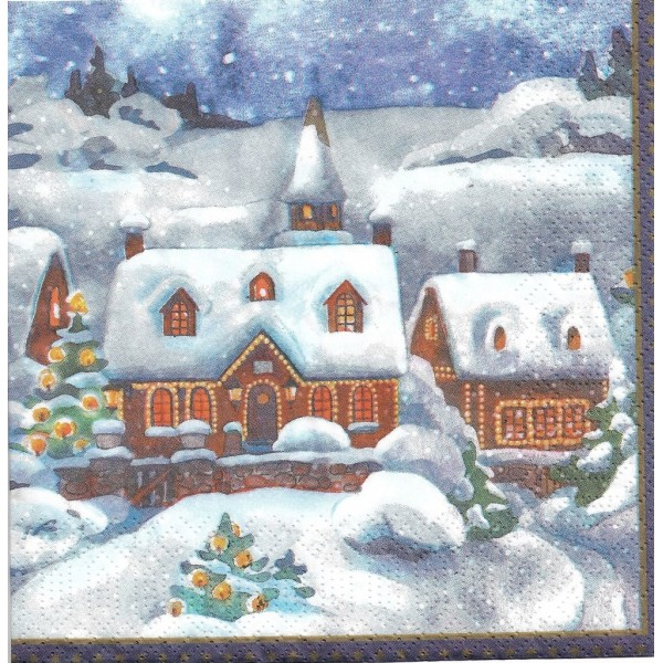 4 Serviettes en papier Village en Hiver Format Lunch Decoupage Decopatch DC-183547 Duni - Photo n°2