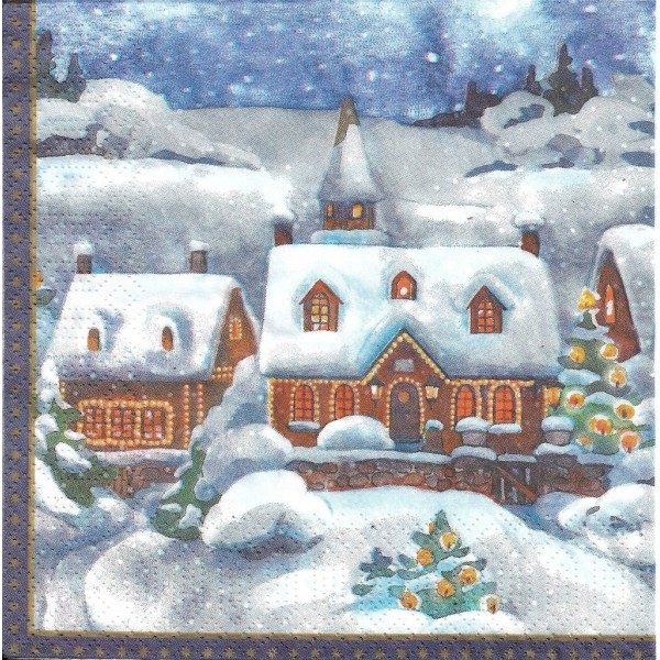 4 Serviettes en papier Village en Hiver Format Lunch Decoupage Decopatch DC-183547 Duni - Photo n°1