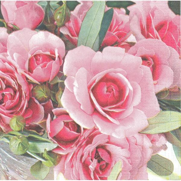 4 Serviettes en papier Roses du Jardin Format Lunch Decoupage Decopatch 6247 PPD - Photo n°1