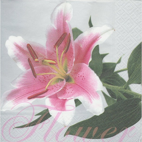 4 Serviettes en papier Fleurs de Lys Lilium Format Lunch Decoupage LN0601 Colourful Life - Photo n°1