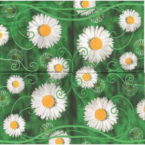 4 Serviettes en papier Pâquerettes Printemps Format Lunch Decoupage Decopatch 4704 PPD - Photo n°1