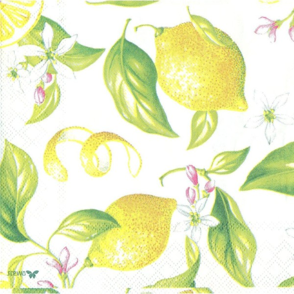 4 Serviettes en papier Citron Fleur Citronnier Format Lunch Decoupage Decopatch 2572-9943-60 Stewo - Photo n°1