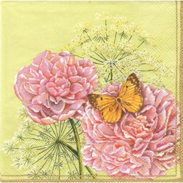 4 Serviettes en papier Asie Pivoine Papillon Format Lunch Decoupage Decopatch 13304816 Ambiente - Photo n°1