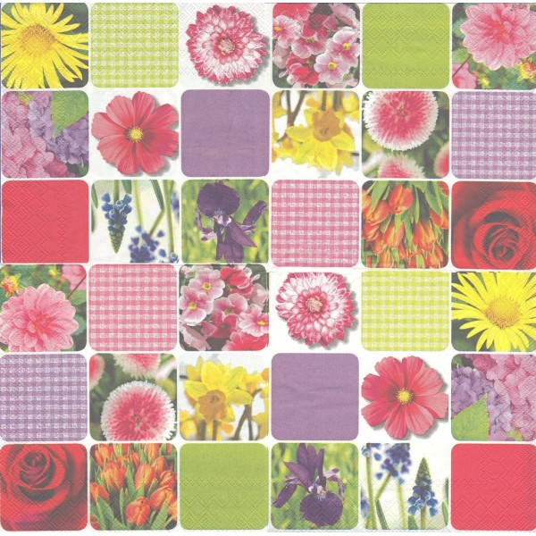 4 Serviettes en papier Patchwork Fleurs Printemps Format Lunch 1016-32200 IHR Decoupage Decopatch - Photo n°2