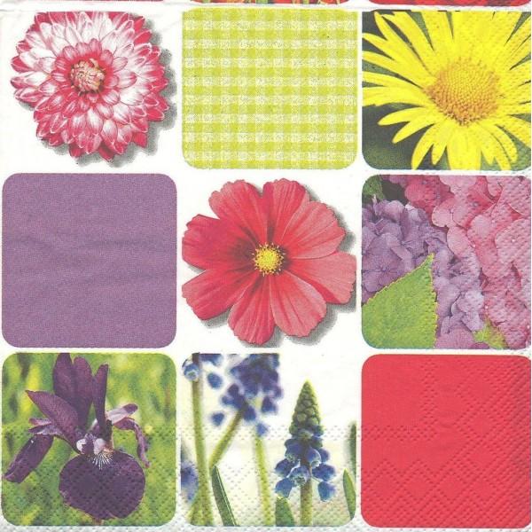 4 Serviettes en papier Patchwork Fleurs Printemps Format Lunch 1016-32200 IHR Decoupage Decopatch - Photo n°1