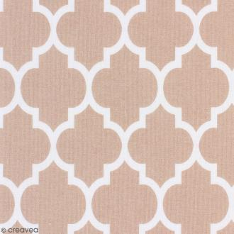 Tissu Portofino - Moucharabieh - Fond Beige - Par 10 cm (sur mesure)