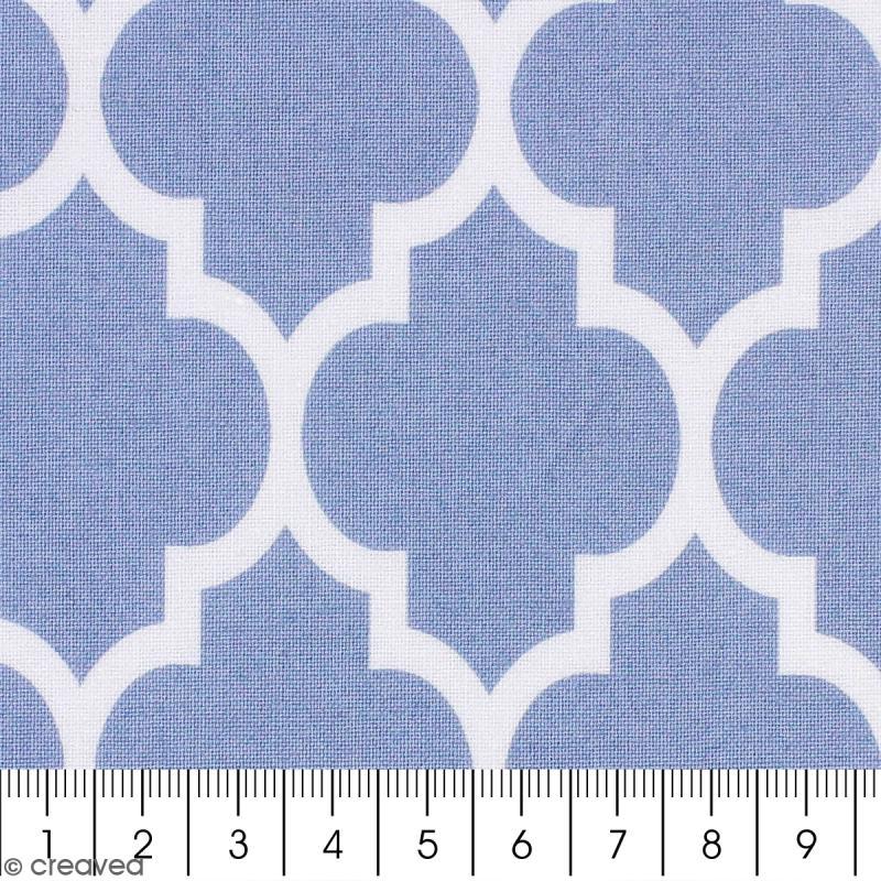 tissu portofino moucharabieh fond bleu clair par 10 cm sur mesure tissu au m tre creavea. Black Bedroom Furniture Sets. Home Design Ideas