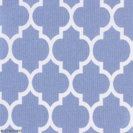 tissu portofino moucharabieh fond bleu clair par 10. Black Bedroom Furniture Sets. Home Design Ideas