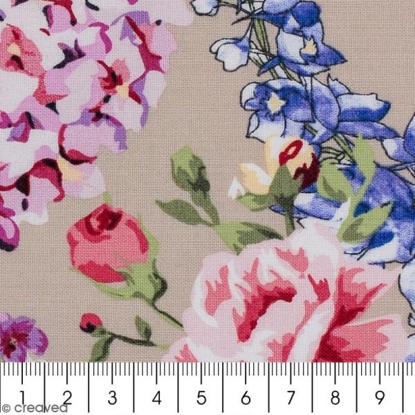 Tissu Portofino - Fleurs vintages - Fond Beige - Par 10 cm (sur mesure) - Photo n°2