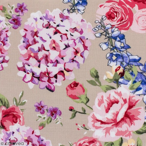 Tissu Portofino - Fleurs vintages - Fond Beige - Par 10 cm (sur mesure) - Photo n°1
