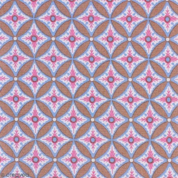 Tissu Portofino - Grandes fleurs géométriques roses - Fond Beige - Par 10 cm (sur mesure) - Photo n°1