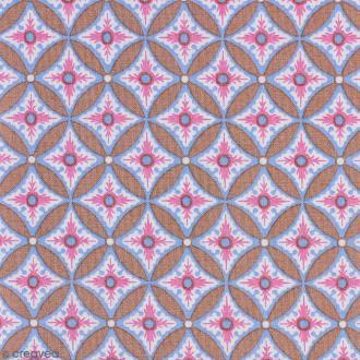 Tissu Portofino - Grandes fleurs géométriques roses - Fond Beige - Par 10 cm (sur mesure)