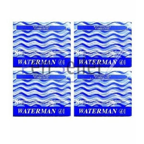 Waterman S0713001 Blister de 4 Etuis de 8 Cartouches Longues pour Stylo Plume en encre Ble - Photo n°2