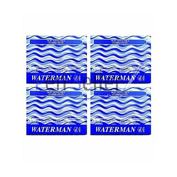Waterman S0713001 Blister de 4 Etuis de 8 Cartouches Longues pour Stylo Plume en encre Ble - Photo n°1