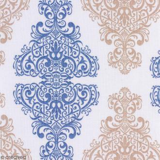 Tissu Portofino - Arabesques bleu et beige - Fond Blanc - Par 10 cm (sur mesure)