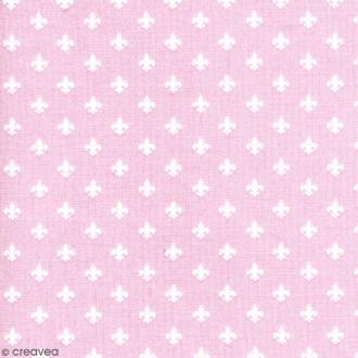 Tissu Little Friends - Fleur de Lys  - Fond Rose clair - Par 10 cm (sur mesure)