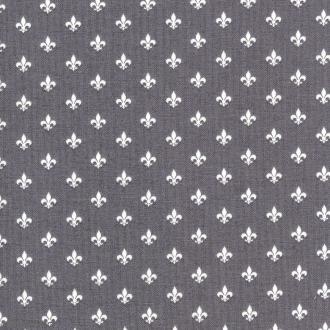 Tissu Little Friends - Fleur de Lys - Fond gris - Par 10 cm (sur mesure)