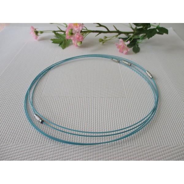 Supports colliers fil d'acier 45 cm bleu x 4 - Photo n°2