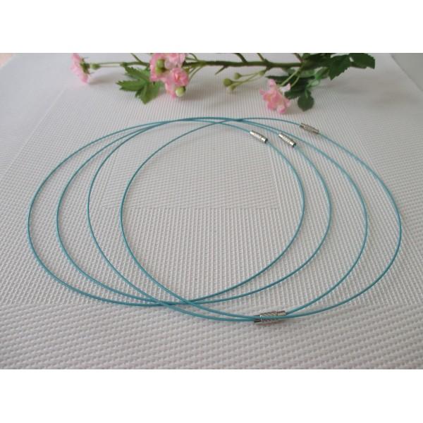Supports colliers fil d'acier 45 cm bleu x 4 - Photo n°1