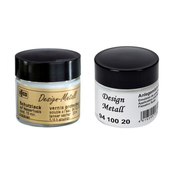 Lot de 2 Pots d'Emulsion de Colle et Vernis de protection, 2 x 20 ml, feuilles d'or, argent, métalli - Photo n°1