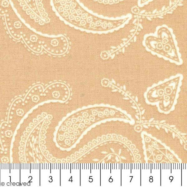 Tissu With Love - Fleurs feuillages - Fond Beige - Par 10 cm (sur mesure) - Photo n°2