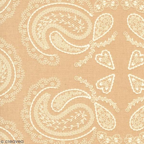 Tissu With Love - Fleurs feuillages - Fond Beige - Par 10 cm (sur mesure) - Photo n°1