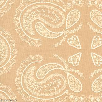 Tissu With Love - Fleurs feuillages - Fond Beige - Par 10 cm (sur mesure)