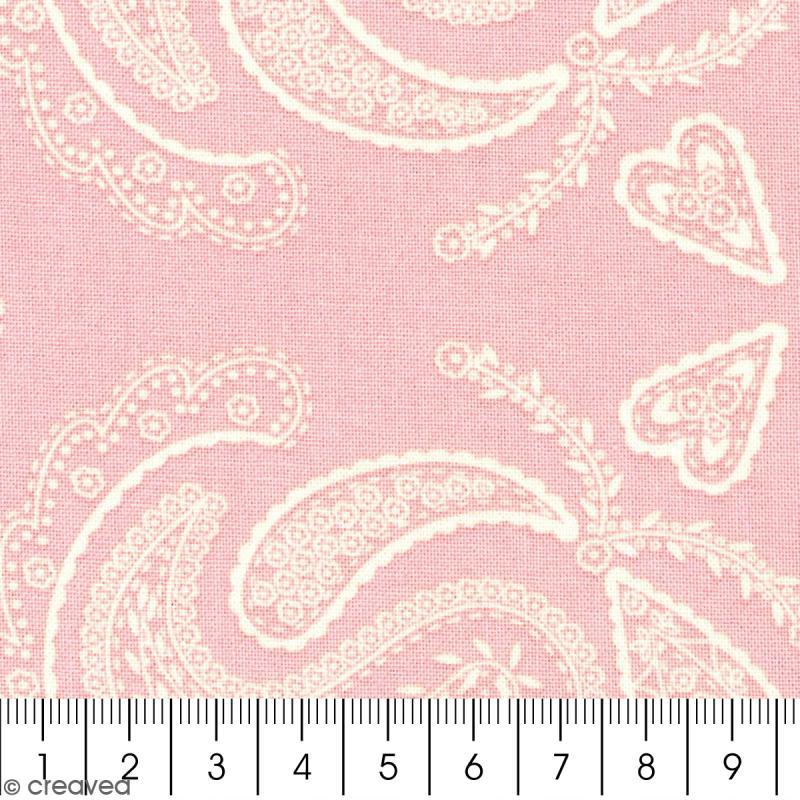 Tissu with love cachemire fond rose clair par 10 cm for Coupe miroir sur mesure