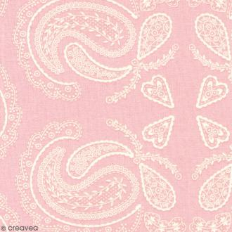 Tissu With Love - Cachemire - Fond Rose clair - Par 10 cm (sur mesure)